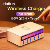 IHaitun 100W sans fil PD Type C QC3.0 USB chargeur LED affichage Station de quai rapide voyage Charge rapide 3.0 QC 4.0 pour iPhone 11 Pro