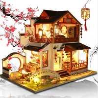 Estilo chino DIY casa de muñecas muebles ensamblar madera miniatura casa de muñecas Diy casa de muñecas juguetes de regalo de Navidad para niños