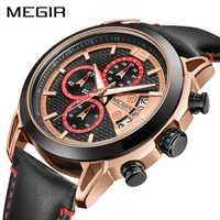Reloj cronógrafo creativo MEGIR para hombre, reloj de pulsera de cuarzo de cuero de moda, reloj de pulsera para hombre, relojes militares del Ejército
