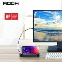 HUB ROCK Super USB tipo C para teléfono inteligente tipo C teléfono móvil 5in1 USB-C estación de acoplamiento Hubs TV a HDMI 3 USB 3,0 para Samsung S9