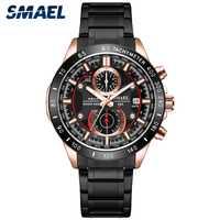 Reloj de cuarzo negro de lujo para hombre, nuevo reloj deportivo para hombre, reloj de acero inoxidable de marca superior, reloj de cronómetro resistente al agua para hombre