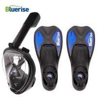 Bluerise aletas de natación y máscara Set Anti-fog Snorkel máscara completa antideslizante aletas equipo de buceo aletas de buceo máscara