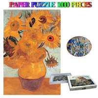 Tournesol 1000 pièces papier Puzzle Van Gogh mondialement célèbre peinture Puzzles pour adultes enfants éducation jouets décoration de la maison