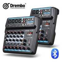 Console de mixage audio numérique portable Drembo 4/6 canaux avec carte son, bluetooth, USB, alimentation fantôme 48V pour enregistrement DJ PC