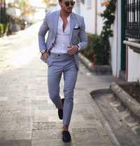 Léger BlueTuxedo hommes costumes pour mariage 2 pièces Costume d'affaires Blazer pointe revers Costume Homme Terno costumes de fête (veste + pantalon)