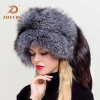 ZDFURS * mujeres ruso Ushanka aviador trampero de piel de zorro bombarderos sombrero de piel de zorro auténtico sombreros cúpula mongol sombrero