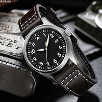 Montre de plongée 200m étanche hommes montre-bracelet en cuir bracelet NH35 automatique mécanique japon mouvement mâle montre pilote de luxe