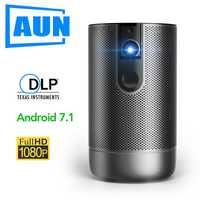 AUN projecteur Full HD D9, 1920X1080 P, Android 7.1 (2G + 16G) 5G batterie WIFI, MINI projecteur 3D, projecteur Portable de voyage en plein air