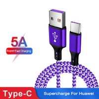 Jetjoy Nylon trenzado 5A Surper carga rápida tipo C cargador de datos USB Cable de carga duradero para Huawei P30 Pro al por mayor 50 piezas