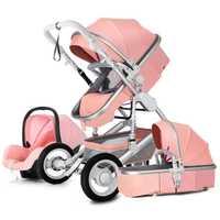 Haute paysage bébé poussette 3 en 1 chaude maman bébé poussette de luxe voyage landau chariot panier bébé siège auto et poussette