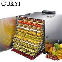 Deshidratador de alimentos CUKYI de 15 capas de acero inoxidable, 110 V, 220 V, secador de deshidratación de aperitivos, frutas, vegetales, hierbas, carne, máquina de secado EU