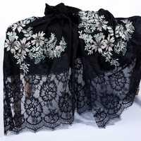 Increíble lujo 100% bufanda de lana fina chal de calidad superior bordado encaje invierno bufandas envolturas para mujeres señoras 230x70cm