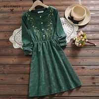 8 Styles Mori fille Vintage velours côtelé femmes chemise robe broderie florale élégant automne hiver noël cadeau robes robe Midi