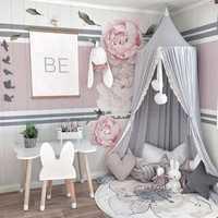 Cubierta de cama redonda de color rosa/Blanco/gris para niña bebé cortina de cama con encaje para niños dossel colgante de cúpula para habitación de niños