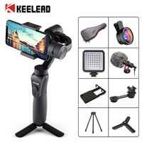 Stabilisateur de cardan portable KEELEAD 3 axes avec traction et Zoom pour iPhone Xs Max Xr X 8 Plus 7 6 SE caméra d'action Samsung