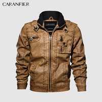 CARANFIER hommes vestes en cuir moto col montant poches à glissière hommes taille américaine PU manteaux Biker Faux cuir vêtements mode