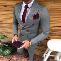 Dernières conceptions de pantalon de manteau Double boutonnage hommes costume coupe mince mode costumes de mariage pour hommes bal marié veste de smoking avec ensemble de pantalons