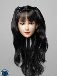 1/6 doble cola rizos cabeza femenina esculpir modelo de cabeza pálida personalizar cabeza tallada ajuste 12 ''PH TBL figura cuerpo