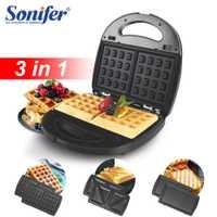 Máquina de hacer Waffles 3in1Electric, máquina de sándwich, masa semiesférica, horno de cocina, desayuno, Burbuja, Waffle, hierro, donas, Multi-baker Sonifer