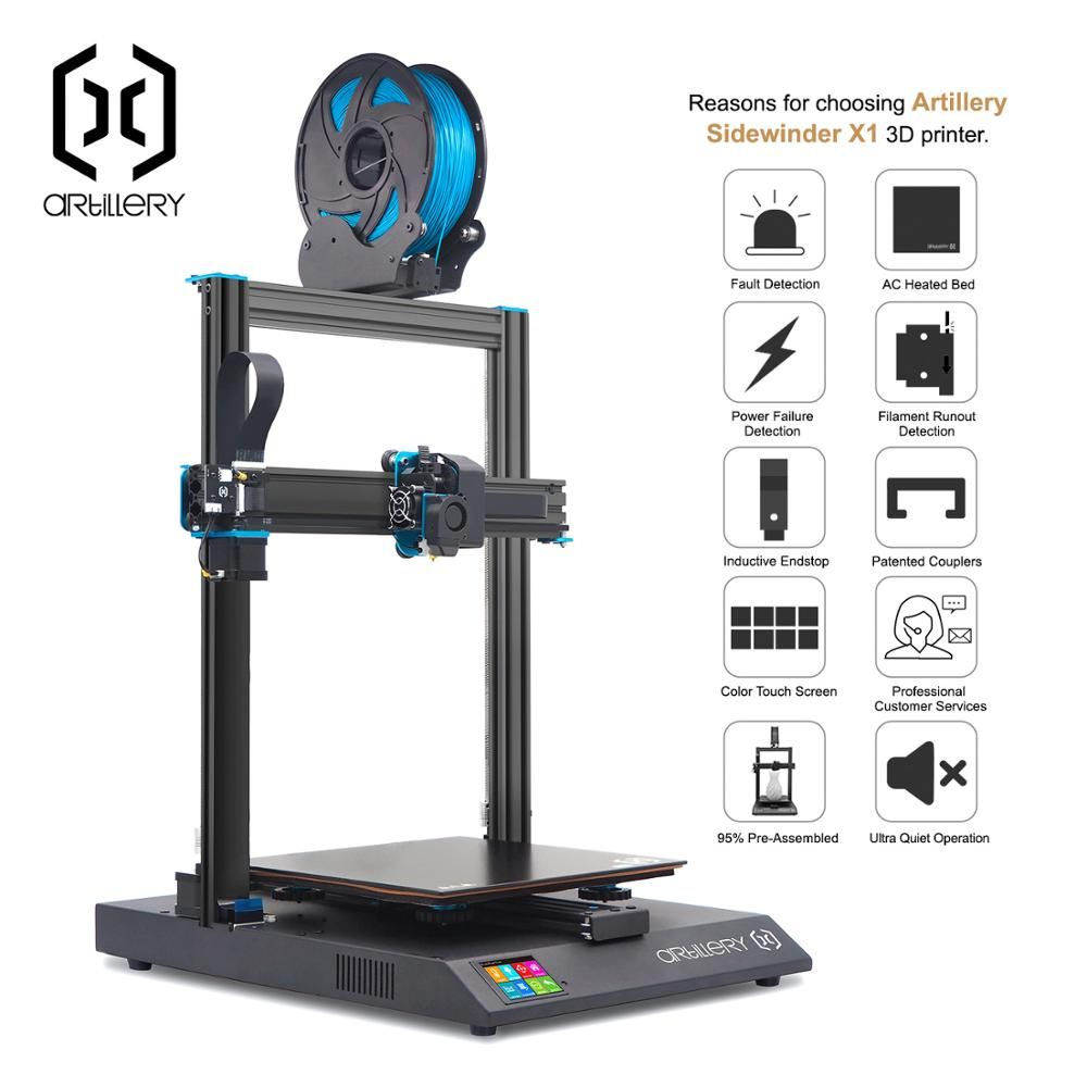 GOW US $399.99 3D Printer artillery Sidewinder X1 SW-X1 300x300x400mm Large Plus Size High Precision Dual Z axis TFT Touch Screen