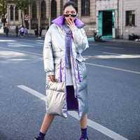 FTLZZ nueva chaqueta de invierno mujer blanco pato abajo Parkas femenino cuello de soporte grueso abrigo cálido plata negro nieve abajo Outwear