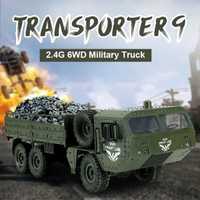 Camión de transporte militar de alta calidad 2,4G RC 6WD transporte 500g elementos modelo simulación niño todoterreno coche luz puede ser brillante
