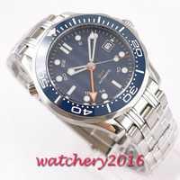 Relogio Masculino hommes montres Top marque cadran bleu GMT saphir 41mm luxe hommes militaire bracelet en acier montre-bracelet automatique