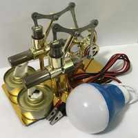 Modelo de Motor Stirling, educación de vapor de calor, DIY para chico juguete para regalo, adorno artesanal, descubrimiento, alternador, iluminación física
