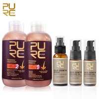 Champú y acondicionador para el cabello con PURC para evitar la caída del cabello y aceite de esencia de crecimiento de 2 uds. Y 1 Uds. Spray para el crecimiento del cabello