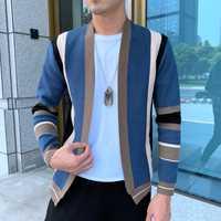 Épissage contraste chandail manteau décontracté hommes Sweatercoat Tricot Cardigan tricoté chandail Casaco Masculino Hombre Cardigan chandail