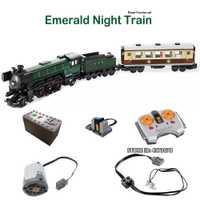 Serie Técnica Ciudad Esmeralda tren de noche conjunto potencia función LED Kit de construcción de luz juguetes para niños creador regalos expertos
