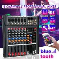 Professionnel 6 canaux USB Studio Audio bluetooth DJ Console de mixage amplificateur karaoké mélangeur numérique Mini Microphone mélangeur de son