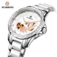 Reloj Mecánico de STARKING para mujer, reloj de pulsera de cerámica blanca con diamantes de imitación