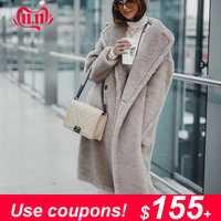 Maylofuer nouveauté 100% réel manteau de fourrure d'agneau femmes longue veste de fourrure de mouton