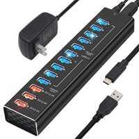 Hub USB 3,0 EU/US con adaptador de corriente 5V a cargador rápido USB C 13 puertos de alta velocidad hub Splitter para Macbook Pro Laptop PC Hub