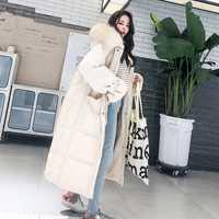 Moda cuello de piel blanca con capucha abrigo cálido mujer x-long chaqueta 2019 nueva chaqueta holgada hasta abajo abrigo grueso mujer prendas de vestir exteriores WM22