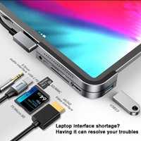 Baseus USB C a HDMI USB3.0 HUB USB adaptador para iPad Pro lector de tarjetas USB divisor para MacBook Pro HUB de superficie de 6 puertos USB