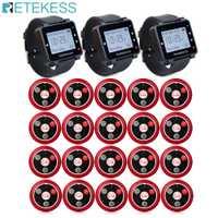 T117 20 bouton émetteur d'appel + 3 récepteur de montre système d'appel sans fil serveur appel téléavertisseur équipement de Restaurant Service à la clientèle