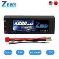 Zeee Lipo batterie 7.6V 6000mAh 100C RC Lipo batterie avec 4mm balle Deans Plug bateau chargeur de batterie pour RC voiture camion Truggy