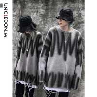 UNCLEDONJM pull chandails décontracté automne hiver chaud pull tricoté mâle chandail lâche coupe Streetwer Hip hop Punk TCL-6005