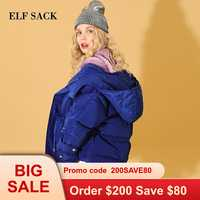 ELFSACK nouvelle Femme vers le bas manteau 90% blanc canard vers le bas coréen Ins Style solide Femme épais manteau fermeture éclair hiver portant vestes manteaux