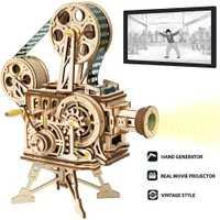 ROKR Vitascope 3D Puzzle en bois portable classique Film projecteur décor à la maison modèle d'assemblage jouets pour enfants adultes cadeaux LK601