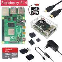 Dernière Raspberry Pi 4 modèle B 1/2/4GB RAM 1.5GHz BCM2711   boîtier   ventilateur   dissipateur de chaleur   adaptateur secteur   carte SD 32 go   Micro HDMI