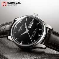 Carnaval de luxe montres mécaniques hommes d'affaires Simple étanche classique en cuir automatique montre-bracelet hommes Reloj Hombre 2019