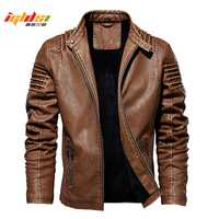 Hommes hiver veste en cuir moto Biker PU cuir manteaux vêtement d'extérieur pour homme mode chaud épaissir fausse laine doublure veste M-5XL