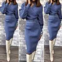Hiver automne femmes pull jupe Midi ensembles couleur unie femme décontracté deux pièces costumes pull ample tricot jupe
