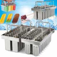 20 moldes de acero inoxidable DIY molde de helado Popsicle helado hacer herramienta plata hogar máquina de helado Stick Holder molde nuevo