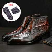 Hommes bottes d'hiver en cuir de vache véritable chelsea bottes brogue décontracté cheville chaussures plates confortable qualité à lacets bottes habillées