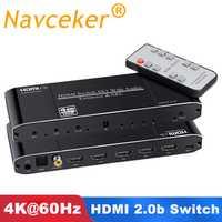 Navceker 2x1 interruptor HDMI de 4x1 HDMI 2,0 interruptor 4K @ 60Hz 3D HDR HDMI interruptor Toslink arco para XBOX 360 PS4 Smart Android HDTV