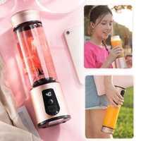 La taza de jugo de licuadora fruta mezclador de jugo de frutas licuadora eléctrica portátil 450mL 6 HOJA potable saludable batido de proteínas de viaje